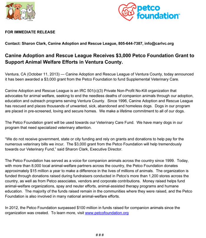 petcofoundationgrant_press release